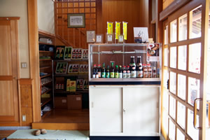A display case of the Sumiya Bunjiro Brewery Co., Ltd., mirin and plum liqueur products in Hekinan city, Aichi, Japan on May 19, 2014. The largest bottle of mirin is 1.8 liters. Photo by Demetria Stephens.